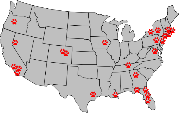 Map of Tefco Raw Dog Food Distributors in United States